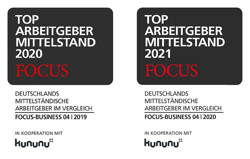 FOCUS Top Arbeitgeber des Mittelstand 2020 und 2021